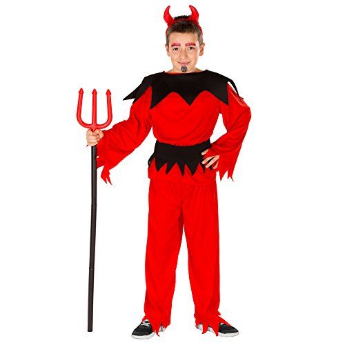 dressforfun Schauriges Kinder Teufelchen Kostüm inkl. Haarreifen und Bindegürtel (5-7 Jahre | Nr. - Schaurige Kinder Kostüm