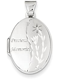 IceCarats Designer Jewellery 14K White Gold 21Mm Oval Locket