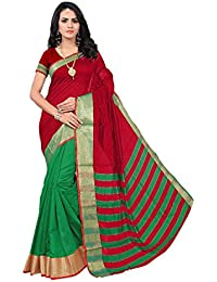 KRISHNA ENTERPRISE. Cotton Silk Saree With Blouse Piece (HALF TICKET_Red And Green_Free Size)