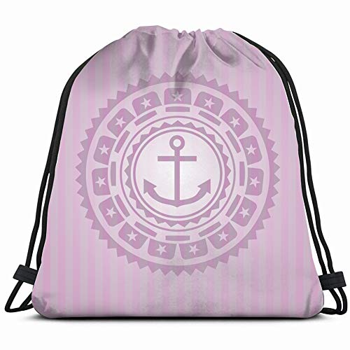 DD Decorative Anchor icon Inside pink Emblem Miscellaneous Drawstring Backpack Gym Sack Lightweight Bag Water Resistant Gym Backpack for Women&Men for Sports,Travelling,Hiking,Camping,Shopping Yoga (Ipad Flat Iron)
