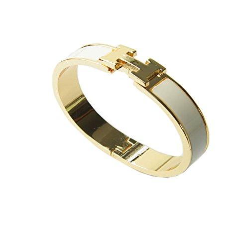 r beliebtes Stilvolle Edelstahl antiallergische h-shaped Schnalle Armband Armreif–Gold + Weiß (H Armband Armreif)