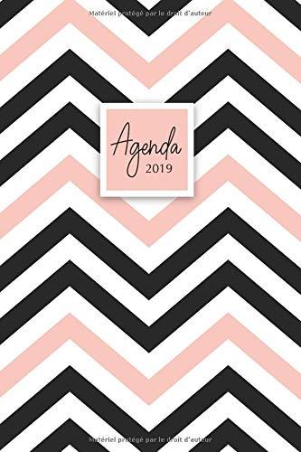 Agenda 2019: Agenda Janvier à Décembre 2019, Semainier simple & graphique, motif chevrons noir & rose par YesOuiPages