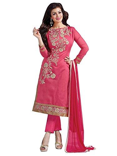 Rhythm Women Cotton Dress Material (Rth 1009 -Pink F_Pink_Free Size)