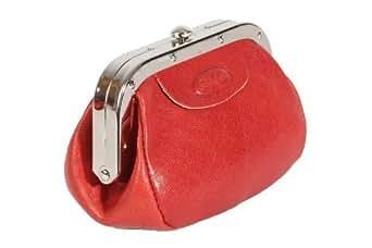 Cadre rouge en cuir Porte-monnaie avec fermeture Par bouton poussoir et 3 compartiments pour les pièces Par Hansson