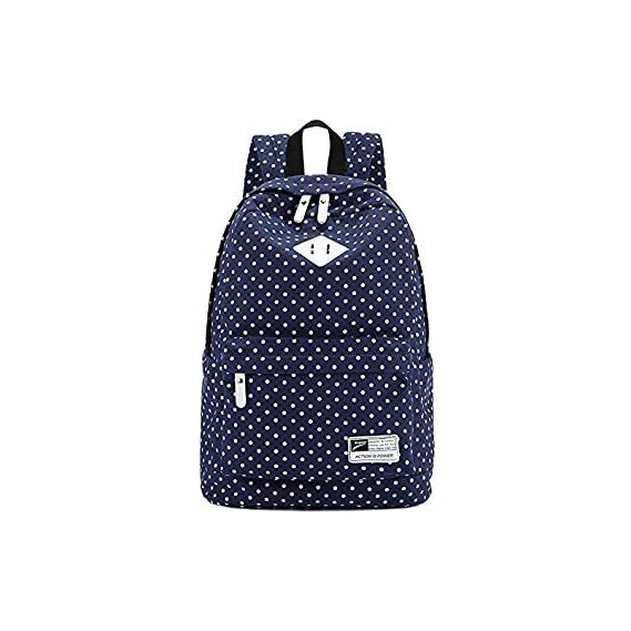 Generic Canvas Backpack Travel School Shoulder Bag Dot Printing Teenage Girl's Bags for 14