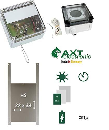 AXT-Electronic Set 1_x - Pförtner mit Batterien, Digitale Zeitschaltuhr, Hühnerklappe, für Außenmontage