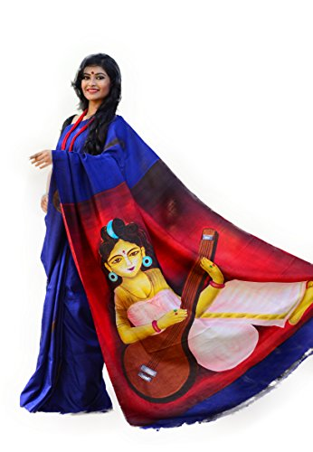 Bishnupuri Pure Katan Silk Saree / Hand Painted Pure Silk Saree /...