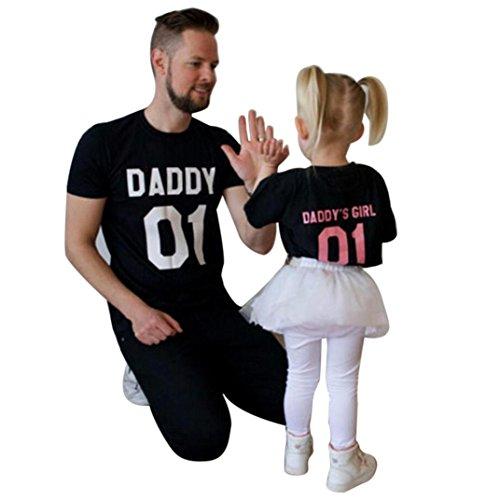 Oyedens Familie Kleidung Mann Vater Sohn Baby Rundhals Kurzarm 01 Print T-Shirt Bluse Kleidung Lose Tops Oberteil/BIG MAN/LITTLE MAN Papa und Sohn Bluse -