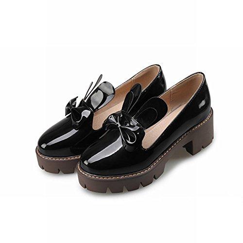 MissSaSa Femmes Escarpins Talons Moyen Bloc Chaussures Plateforme Décoration Noeud à deux Boucle Noir