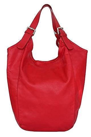 AMBRA Moda Damen Nappaleder Handtasche, Schultertasche, Shopper, Beutel, NL606 B-Ware (Rot)