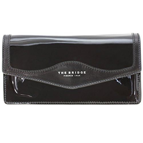 The Bridge Glitter Clutch Tasche 26 cm Leder nero