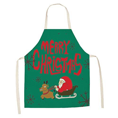 Fablcrew Grembiuli in Cotone e Lino Grembiuli Multiuso Panettiera Cuoco size 68cmx49cm (Modello di Babbo Natale e slitta)