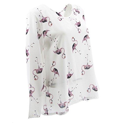 Netgozio Blusa Camicia Donna Maglia Manica Lunga Girocollo Scollo V Fenicottero Carino multicolore1
