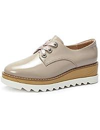 Zapatos de mujer Otoño Cinturón Cuña Talón Encaje Casual Inglaterra Zapatos  Individuales Estilo Universitario Zapatos de Plataforma con… 9818248424db