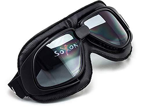 SOXON SG-300 Night Oldtimer Motorrad-Brille Vintage Ski-Brille Flieger-Brille Sport-Brille Scooter Vespa Goggles Pilot Cruiser Jet-Brille Biker Schutz-Brille, Leder Design, Schwarz/Regenbogen, Einheitsgröße
