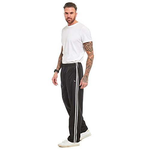 MyShoeStore Mens Track Suit Bottom Casual Elasticated Waist Tracksuit Bottoms Silky Joggers Jogging Jog Double Striped Trousers Comfortable Leisure Gym Sports Yoga Open Hem Pull ON Stripe Pants