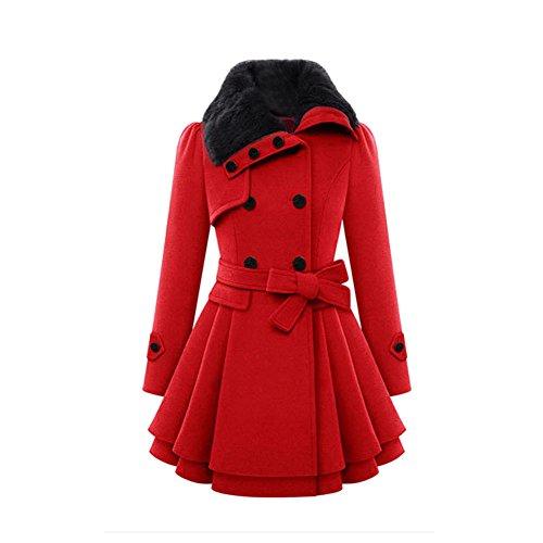 VEMOW Herbst Frauen Warm Schlank Mantel Mode Kunstpelz Revers Zweireiher Jacke Parka Mantel Lange Wolle Trenchcoat Jacke Winter Outwear(Rot, EU-36/CN-S)
