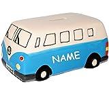 """XL - Spardose - """" Auto / Bus - blau """" - incl. Name - stabile Sparbüchse aus Porzellan / Keramik - Sparschwein - für Kinder & Erwachsene / lustig witzig - Reisebus / Urlaubsbus - Fahrzeug lustig Führerschein - Autos Nostalgie - Autos / Reise - Reisekasse Urlaub Reisen - Geldgeschenk / Urlaubsbus - Urlaubskasse Transporter"""
