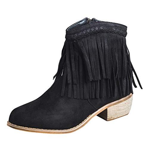 Trisee Herbst Winter Damen Stiefeletten Zehe Chelsea Boots Knöchel Booties mit Blockabsatz Classics Halbschaft Stiefel Stiefeletten mit Quaste Worker Boots mit reißverschluss -