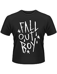 Plastic Head Men's Fall Out Boy Scratch Banded Collar Short Sleeve T-Shirt