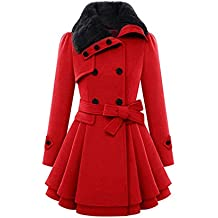 Mujer Chaqueta Larga de Elegante Abrigo Trench Doble Botones Jacket Coat Outwear By VENMO