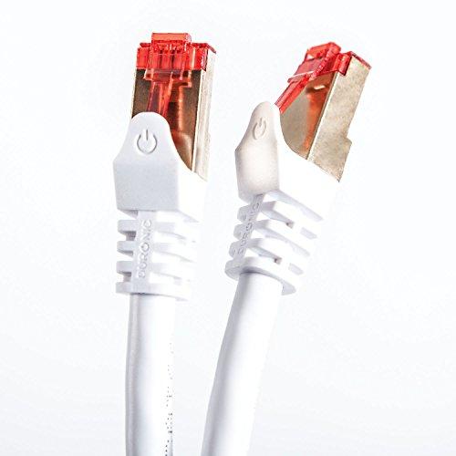 Duronic - Cavo di rete Ethernet schermato CAT6a FTP, Colore: bianco 0.5 Metri Connettori RJ45 placcati oro 24k, alta velocità 500MHz