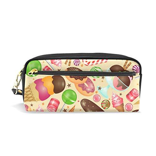 Ahomy Süßigkeiten Donut Ice Cream Federmäppchen für Mädchen und Jungen, Stifttasche Schreibwaren Make-up Beutel Geldbörse Große Kapazität Wasserdicht für Frauen