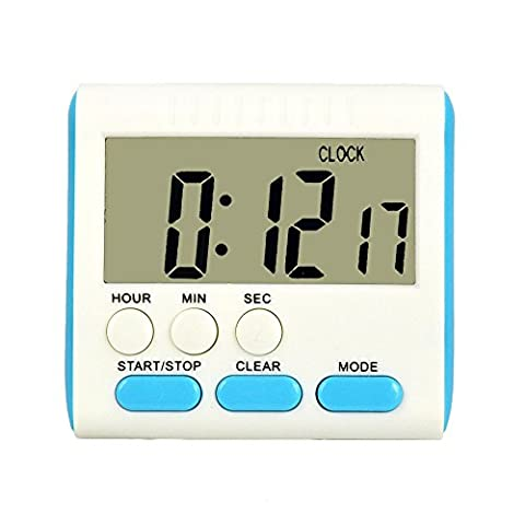 Szaerfa Magnétique grand LCD comptent jusqu'à minuterie de cuisine alarme bas horloge numérique 24 heures (Bouton bleu)