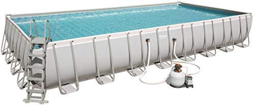 Bestway Power Steel Pool mit Gestell, grau, 956x488x132cm, mit Sandfilteranlage, Leiter, Boden-& Abdeckplane