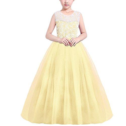 nder Kleid Lang Brautjungfer Festlich Hochzeit Kleider Abendkleid Gelb 130 ()