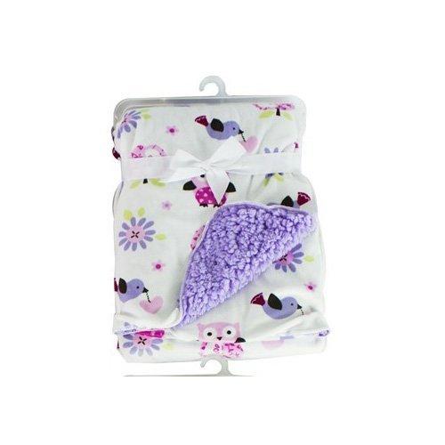 baby-sherpa-mink-printed-pram-buggy-blanket-wrap-thick-purple-owls-by-hoolaroo