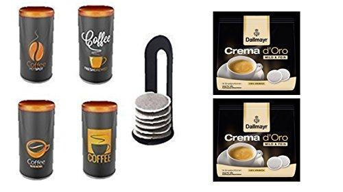Dallmayr Crema d'Oro mild & fein Pads 2er Pack + Kaffeepaddose -4er Set- Vintage Farbe Kaffee Material Metall neu mit Padlifter