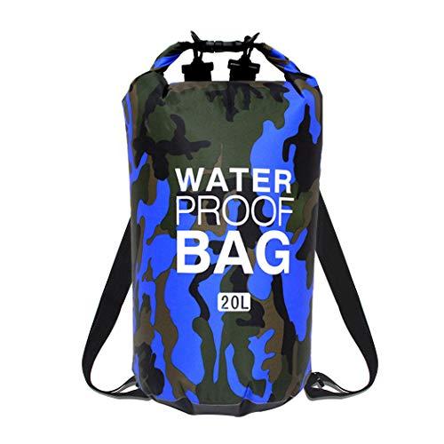 Etmury Dry Bag Camouflage Wasserdichte Tasche Wasserdichter Packsack Trockensack Trockener Beutel  Schulter Verstellbar Eimer Tasche Leicht Faltbar für Kajakfahren Strand Bootfahren Angeln -