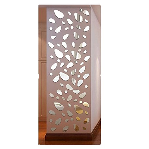 Tefamore Pegatina De Pared De 12Pcs arte desprendible DIY de la decoración del hogar de la etiqueta engomada de la pared del vinilo del espejo 3D (Plata)