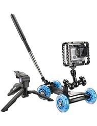 Walimex Pro Dolly Action Set GoPro IV inkl. Kameradolly, Aptaris Cage für GoPro, Gelenkarm und Mini Stativ