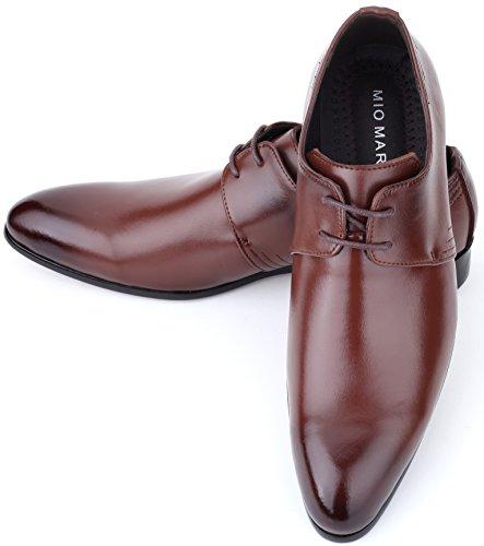 Mio Marino Leder Herren Anzugschuhe: Elegante Derby Schuhe aus Echtleder - Schnürhalbschuhe & Business Schuhe für jeden Anlass Sienna Braun - Budapester