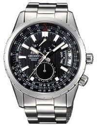 Orient # DH01002B Voyager de hombres negro Dial Doble Tiempo Potencia reserva automático reloj de acero inoxidable