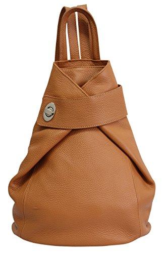 AMBRA Moda echt Leder Damenrucksack CityRucksack Daypack GL014 (Cognac Camel)