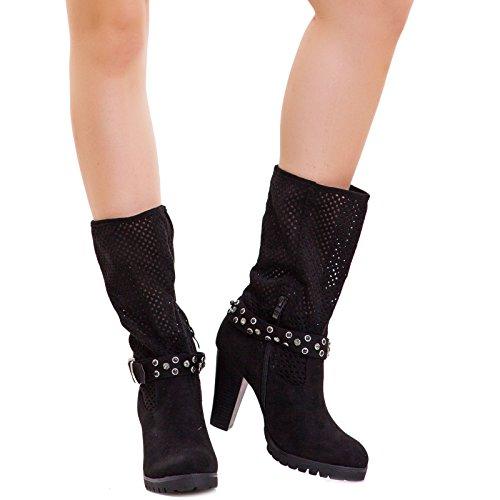 Toocool - Stivali texani donna cinturino fibbia strass scarpe traforati estivi nuovi B3815 Nero