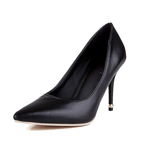 AgooLar Damen Stiletto PU Ziehen auf Spitz Zehe Pumps Schuhe, Schwarz, 41