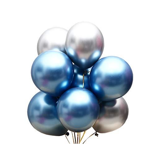 Juland 50 PCS Globos metalicos de Fiesta Perla de Metal Brillante Latex 12 'de Espesor Aleación de Cromo nacarado inflables de Aire para cumpleaños, Despedida de Soltera - Azul y Plata