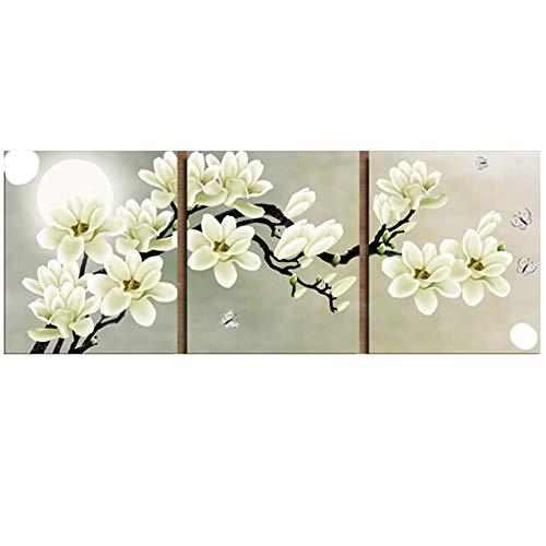 Golden Panno Stickerei, Stickerei, DIY Blumenmalerei, Kreuzstich, Kits weiße Blume und Mond, Kreuzstich, Sets für Stickerei -