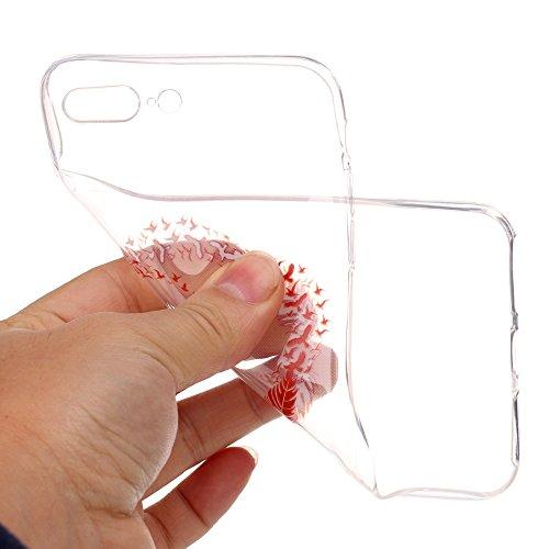 iPhone 7 Plus Hülle, SHUNDA Ultra Dünn Schutzhülle Weiche TPU Silicone Stoßstangen Handyhülle Abdeckung Rückschale Case cover für iPhone 7 Plus (5.5 inch) - Feder Feder