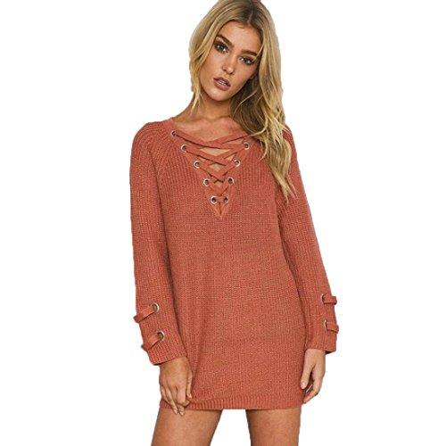 Pullover damen Sonnena Strickpullover Langarm Verband V-Ausschnitt Beiläufig Sweaters Coat Blouse Tops (Free Size, Orange) (Like Strickjacke Kaschmir)
