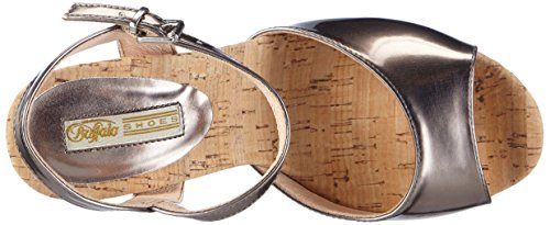 Buffalo - S196a-15 P2109j Metallic Pu, Sandali con platea Donna Grigio (Grau (PEWTER 01))