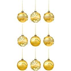 9 Bolas Decorativas Doradas para adornos Árbol Navidad - Accesorio de Decoración Diseño Individual de Purpurina -Articulo Ideal para Regalo Navideño - Ornamento Colgante Oro para Fiesta de Celebración