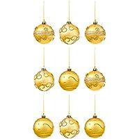 The Twiddlers Lot de 9 Boules pour Sapin de Noël en Or Décoration - avec Design Individuel de Paillettes - Décor Doré d'arbre de Noël Parfait
