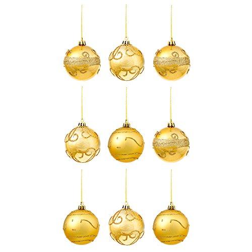 9 Bolas Decorativas Doradas para Árbol de Navidad - Accesorio de Decoración Diseño Individual de Purpurina –Articulo Ideal para Adorno y Regalo Navideño – Ornamento Colgante Oro para Fiesta de Celebración