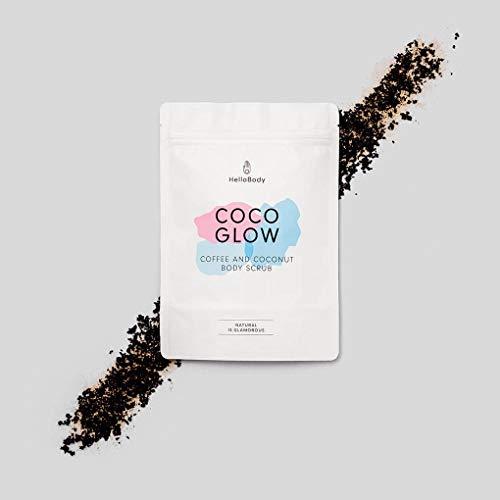 HelloBody Coco Glow Body Scrub (200g) - Veganes Körper Peeling für trockene Haut - für Körper und Gesicht - Natürliches Kaffee Peeling mit leckerem Kokos-Duft -