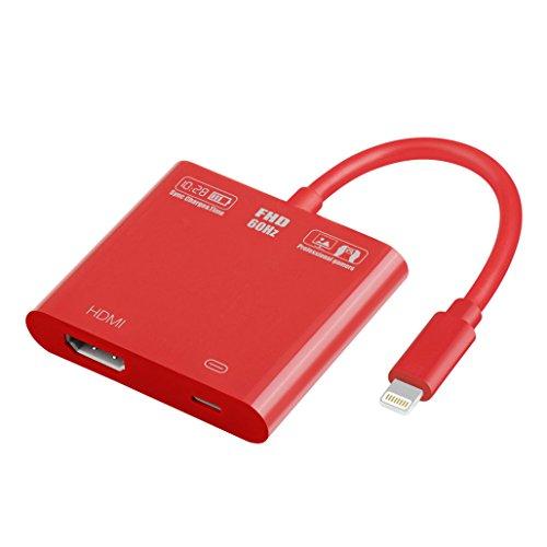 dlungskabel für iPhone Mobile HDMI Adapter Kabel für iPhone7 / 7Plus / 8 / iPhoneX / Tablet / Projektor / TV (Rot) ()